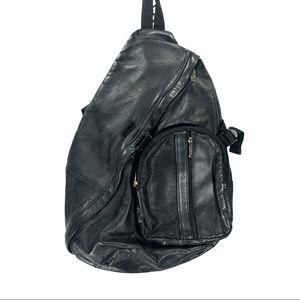 APC black leather sling back backpack